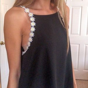 sheer black tank top with daisies